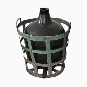 Large Vintage Demi John with Green Metal Vintners Basket