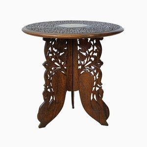 Table Basse Vintage en Teck Sculpté, Ethnique