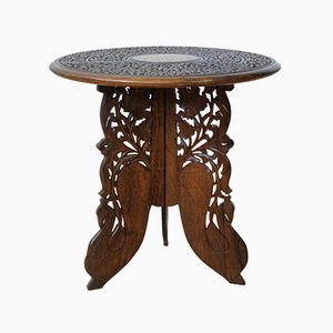 Vintage Carved Ethnic Teak Coffee Table