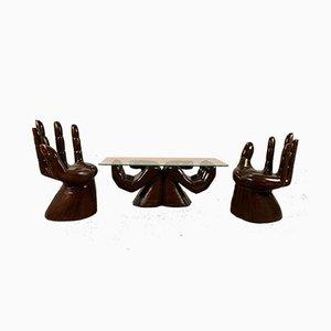 Geschnitzte Mexikanische Hand Armlehnstühle im Stil von Pedro Friedeberg, 1970er, 3er Set