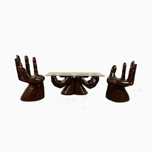 Mexican Carved Hand Armchairs in the Style of Pedro Friedeberg, 1970s, Set of 3