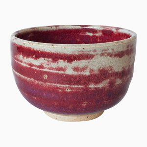 White Stoneware Bowl with Oxblood Copper Red Glaze by Marcello Dolcini