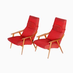 Mid-Century Czech Red Oak Armchairs, 1950s, Set of 2