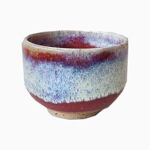 Handgefertigte Steingut Teeschale mit Ochsenblut und Chun Glasur von Marcello Dolcini
