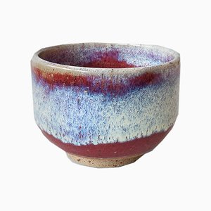 Handmade Stoneware Tea Bowl with Oxblood and Chun Glaze by Marcello Dolcini