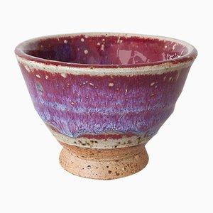Handgemachte kleine Sake Tasse aus Steingut mit roter roter Glasur in Blutrot von Marcello Dolcini