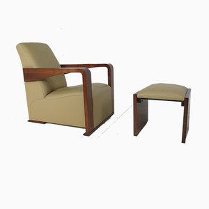 Art Deco Style Leather and Wood Lounge Chair with Ottoman by Hugues Chevalier, 2000s, Set of 2