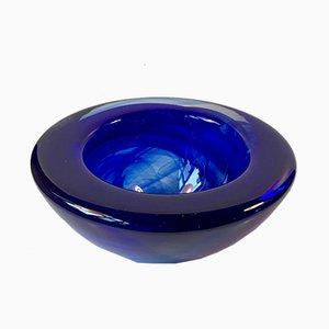 Vintage Atoll Kunstglas Schale in Blau von Anna Ehrner für Kosta Boda, 1980er