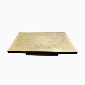 Etched Brass Coffee Table by Albert Verneuil, 1970s