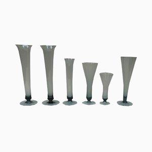 Turmalin Vasen aus Glas von Wilhelm Wagenfeld für WMF, 1950er, 6er Set