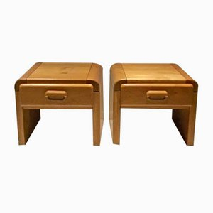 Vintage Oak Nightstands, 1970s, Set of 2
