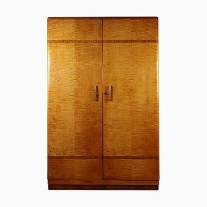 Art Deco Two Door Sycamore Wardrobe, 1930s