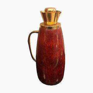 Caraffa Mid-Century in pelle di capra rossa e ottone di Aldo Tura, anni '60