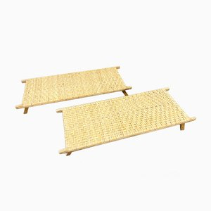 Small Rattan Sunbathing Bed or Coffee Table, 1970s
