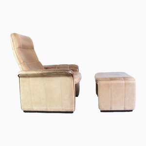Leather Model DS50 Lounge Chair with Stool from de Sede, 2000s