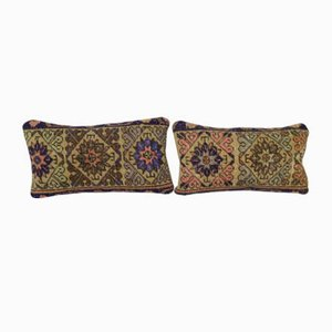 Turkish Oushak Rug Cushion Covers, Set of 2