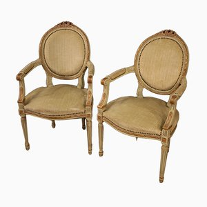 Louis XVI Style Italian Lacquered and Gilded Armchairs, 1960s, Set of 2