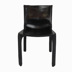 Black Leather Model CAB 412 Side Chairs by Mario Bellini for Cassina, 1977, Set of 2