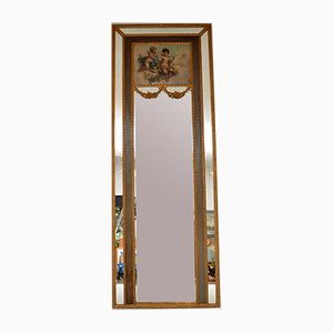 Large Antique Gilt Wood Mirror with Oil Painting