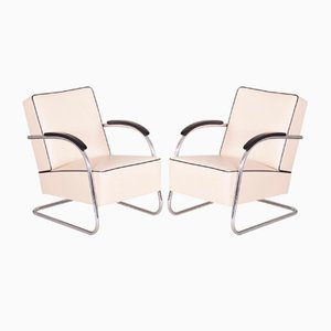 Ivory Tubular Chromed Steel and Leather Cantilever Armchairs from Slezak, 1930s, Set of 2