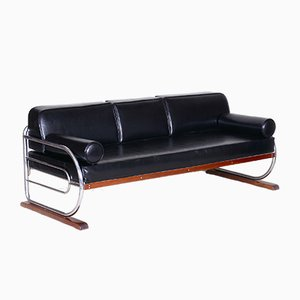 Bauhaus Black Tubular Chromed Steel Sofa by Robert Slezák, 1930s