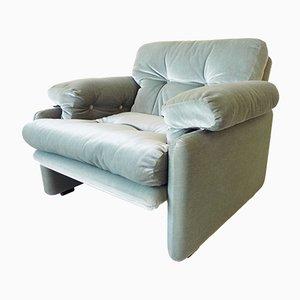 Velour Lounge Chairs by Tobia & Afra Scarpa for B&B Italia / C&B Italia, 1960s, Set of 2