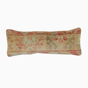 Distressed Oushak Rug Fragment Cushion Cover
