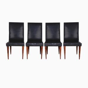 Art Deco Czech Black Desk Chairs by Jindřich Halabala for UP Závody, 1930s, Set of 4