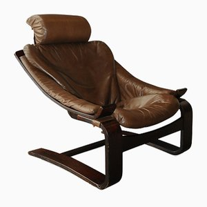 Brown Leather Hook Lounge Chair by Åke Fribytter for Nelo Möbel, 1970s