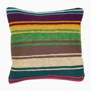 Small Striped Turkish Kilim Cushion Cover