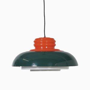 Deckenlampe in Orange und Grün von Dijkstra Lampen, 1970er