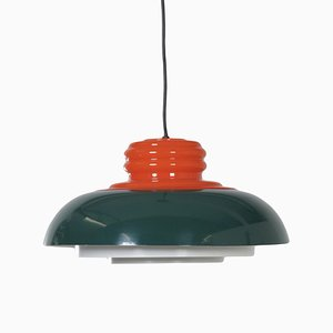 Orange and Green Ceiling Lamp from Dijkstra Lampen, 1970s