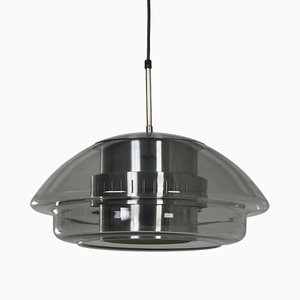 Glass and Aluminium Ceiling Lamp from Dijkstra Lampen, 1970s