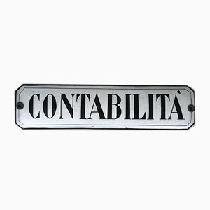 Glazed Contabilita Sign, Italy, 1940s