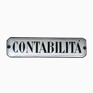 Glazed Contabilita Sign, Italy, 1940s
