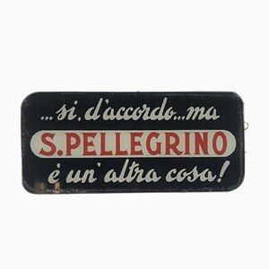 Targa San Pellegrino Glass Advertising Sign, Italy, 1950s