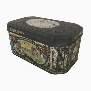 Antique Italian Decorated Tin Box with Panoramic Views of Rome