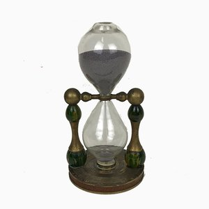 30-Minute Metal Hourglass with Small Compass, Italy, 1970s
