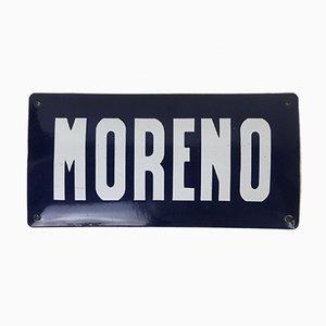 Moreno Straßenschild aus Emaille und abgerundetem Metall, Argentinien, 1950er