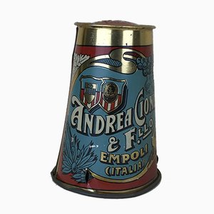 Vintage Blue and Burgundy Silk-Screened Tin with Andrea Cioni Logo, Empoli Olive Oil, Italy, 1950s