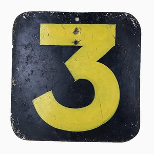 Number 3 Hand-Painted in Yellow on a Dark Background, England, 1940s