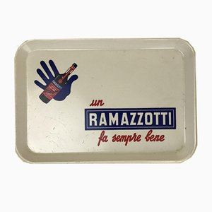 Ramazzotti White Hard Plastic Advertising Tray from R2S, Italy, 1960s