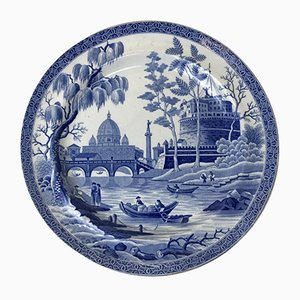 Plate in White and Blue Earthenware with Rome Motif from Spode, 1816