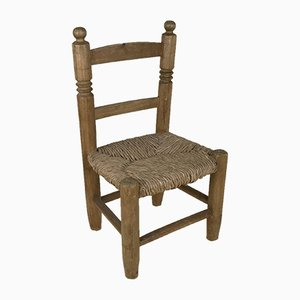 Children's Chair in Wood and Straw, England, 1900s