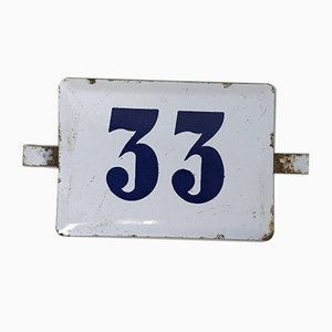 Number 33 Sign in White and Blue Enamel, 1970s