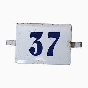 Number 37 Sign in White and Blue Enamel, 1970s