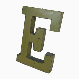 French Letter E Sign in Zinc, 1950s