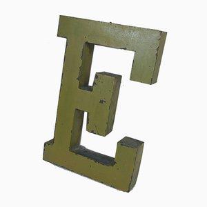 Panneau Lettre E en Zinc, France, 1950s