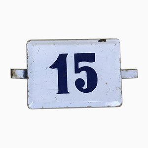 Number 15 Sign in White and Blue Enamel, 1970s