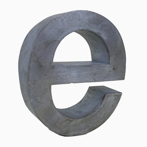 Metal Letter E Sign, Italy, 1970s